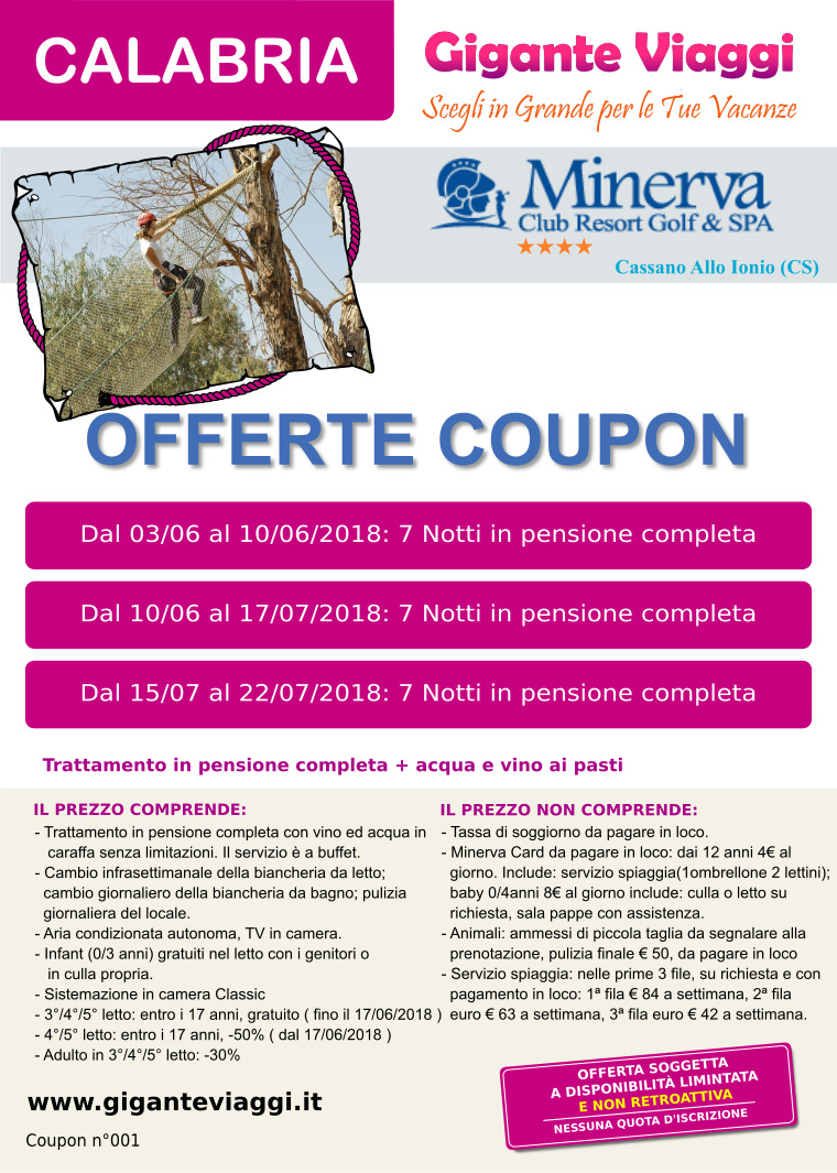 Minerva resort, coupon 001
