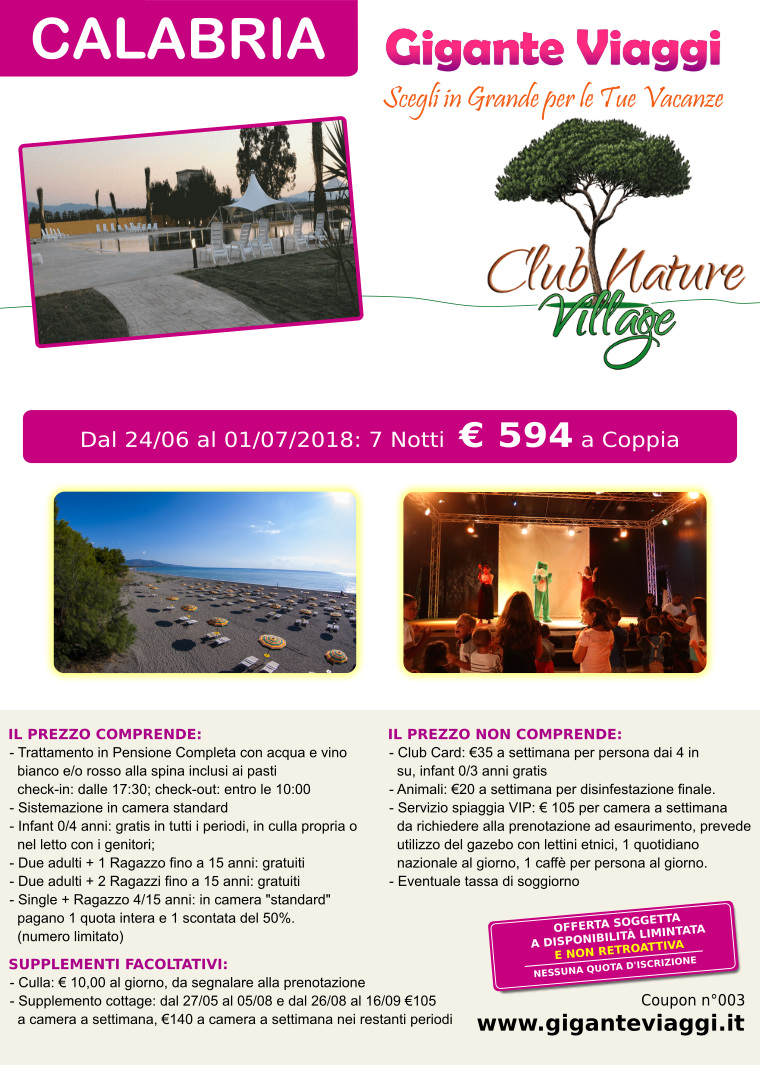 villaggi in calabria offerta giugno2018 club nature village